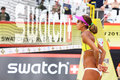 Volleyball player from brazil looks through net moscow june in country quota at tournament grand slam of beach on june Stock Photography