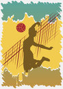 Volleyball poster abstract vector illustration Stock Photography