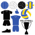 Volleyball set isolated objects on white background vector illustration eps Royalty Free Stock Images