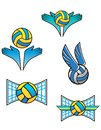 Volleyball sports symbols and icons set for design Stock Photos