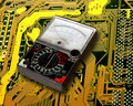 Volt meter on  circuit board Royalty Free Stock Photo