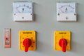 Volt meter switching button on electric control panel Royalty Free Stock Photos
