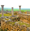 Volubilis in morocco africa the old roman deteriorated monument and site Royalty Free Stock Photo