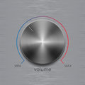 Volume button with dark metal steel brushed texture and color line scale isolated on aluminum polished texture background