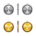 Volume controls a set of silver and gold brushed metal sliders and knobs Royalty Free Stock Photography