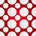 Volume decorative white star-shaped marshmallow. Seamless Christmas pattern. Royalty Free Stock Photo