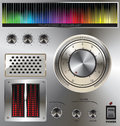 Volume knob with digital colorful equalizer Stock Photos