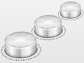 Volume knobs control on grey background Stock Photo