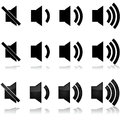 Volume levels icon set showing different for sound systems computers tvs Stock Photos