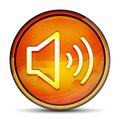 Volume speaker icon shiny bright orange round button illustration Royalty Free Stock Photo