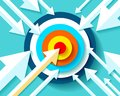 Volume Target icon in flat style on color background. Arrows fly to the center aim. Vector design element for you business project Royalty Free Stock Photo