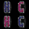 Volume vector letters G,H with shiny rhinestones Royalty Free Stock Photos