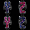Volume vector letters Y,Z with shiny rhinestones Royalty Free Stock Images