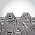 Volumetric d pyramid hexagon optical illusion background bla black and white lines Royalty Free Stock Images