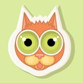 Volumetric sticker with the depicted cat. Emotion of fright, surprise.