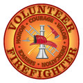 """Volunteer firefighter courage fire department or design with tools symbol encircled by """"honor valor dedication and Royalty Free Stock Image"""