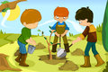 Volunteer kids a vector illustration of volunteering by planting tree together Stock Images