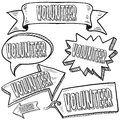 Volunteer labels, banners, and tags Royalty Free Stock Images