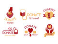 Volunteer red icons charity donation vector set humanitarian awareness hand hope aid support symbols.