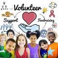 Volunteer voluntary volunteering aid assistant concept Stock Image