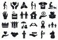 Volunteering helping icons set, simple style