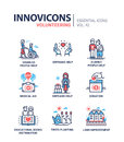 Volunteering - modern vector line design icons set. Royalty Free Stock Photo