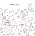 Volunteering vector banner design. Humanitarian help concept outline illustrations. Altruism, donation and charity Royalty Free Stock Photo