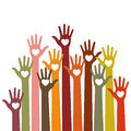 Volunteers bright colorful caring up hands hearts vector design element on sky background.