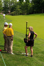 Volunteers at the memorial learning how to use electronic range finders tournament in dublin ohio usa Stock Photography