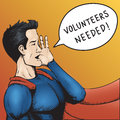 Volunteers wanted cartoon vector illustration superhero need help colorful Royalty Free Stock Photography