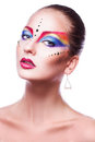 Voluptuous adult woman with multicolor make up isloated on white background Stock Photos
