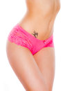 Voluptuous female body sexy pink underwear Royalty Free Stock Photo