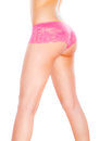 Voluptuous female body sexy pink underwear Royalty Free Stock Images