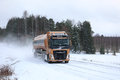 Volvo FH Semi Tank Truck on Snowy Highway