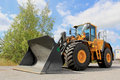 Volvo l g wheel loader lieto finland august on august in lieto finland ce uses optishift technology in larger machinery like Royalty Free Stock Image