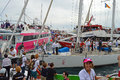 Volvo ocean race spectator boats gridlock as the fight for the best viewing position in the sea off alicante Royalty Free Stock Images