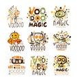 Voodoo African and American magic set for label design. Spiritual, magical, cultural vector Illustrations