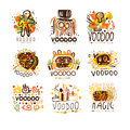 Voodoo and magic set for label design. Spiritual, magical, cultural vector Illustrations