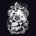 Voodoo sugar skull t shirt or poster print design Royalty Free Stock Photography