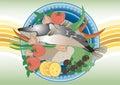 Voor dinervissen. Painting.Banner. Stock Afbeeldingen