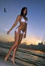 Vorbildliche aufstellung des schönen brunette auf der ozeanküste bei sonnenaufgang Stockfotos