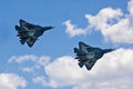 VORONEZH, RUSSIA - MAY 25, 2014: Two new Russian fighters of the fifth generation T-50 Royalty Free Stock Photo