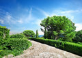 Vorontsov garden stone road in crimea ukraine Royalty Free Stock Photo