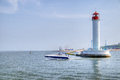 Vorontsov lighthouse in the gulf of odessa ukraine Royalty Free Stock Photo