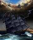 Into the vortex pirate sailboat of a hurricane Royalty Free Stock Photo