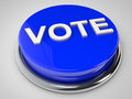 Vote blue button over white background Royalty Free Stock Photos