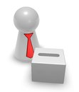 Vote box simple charcter with tie and d illustration Stock Photo