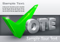 Vote check mark on grey green text vector illustration Stock Images
