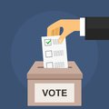 Vote for election concept. Hand puts voting ballot in box