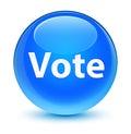 Vote glassy cyan blue round button